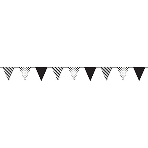 Polka Dots and Stripes Pennant Banner, 12 Feet, Yellow