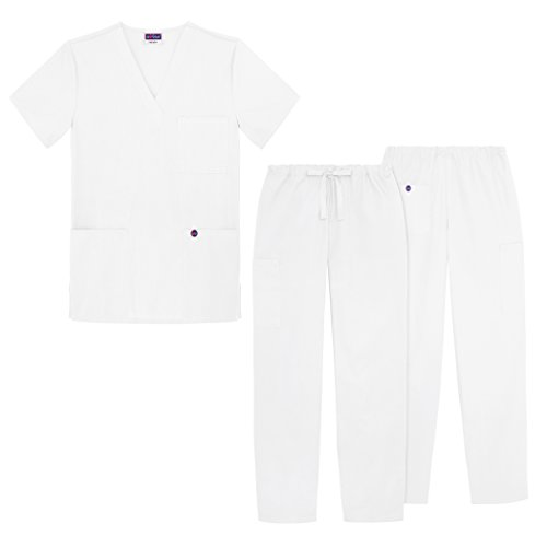 Sivvan Unisex Classic Scrub Set V-neck Top / Drawstring Pants (Available in 12 Solid Colors) - S8400 - White - 3X (White Nursing Cap compare prices)