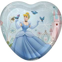 Cinderella Party Plates - Cinderella Heart Shaped Dinner Plates - 8 Count - 1