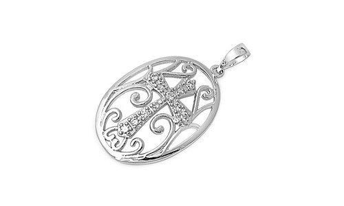 Sterling Silver Cross Medallion Pendant Wholesale Gift Charm Pure 925 New 23Mm With 0.8Mm Snake Chain 15 Inch Valentines Day Gift