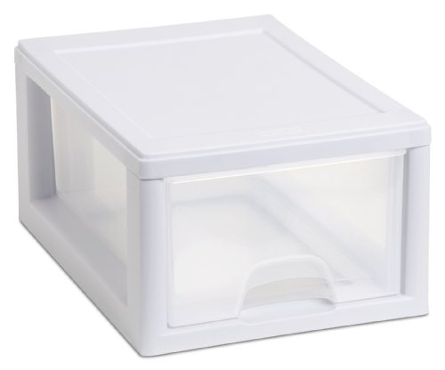 Sterilite 20518006 6 Quart/5.7 Liter Stacking Drawer, White Frame with Clear Drawer, 6-Pack (Stackable Storage Drawers compare prices)