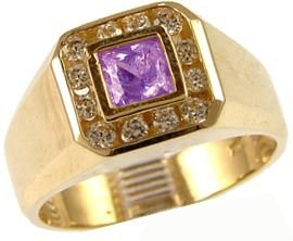 14K Yellow Gold, Fancy Ring For Men Guy Gent With Brilliant Lab Created Gems Violet Purple Center 5.5Mm 1.0Ct