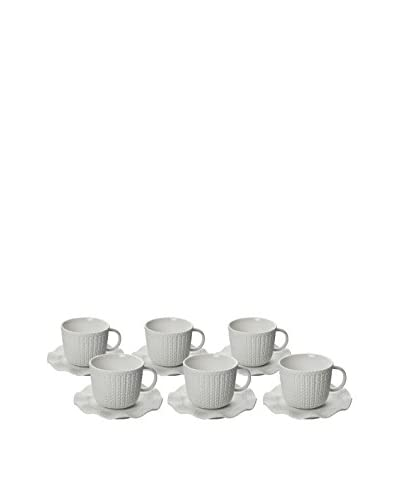 Classic Coffee & Tea Set of 6 Matte Sweater 3.5-Oz. Espresso Cups & Saucers, White