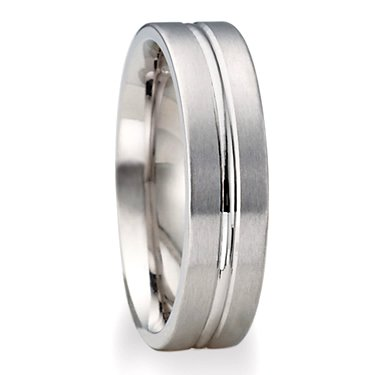 4.0 Millimeters White Gold Wedding Band Ring in 14 Karat Gold, with Satin Brushed Finish and Bright