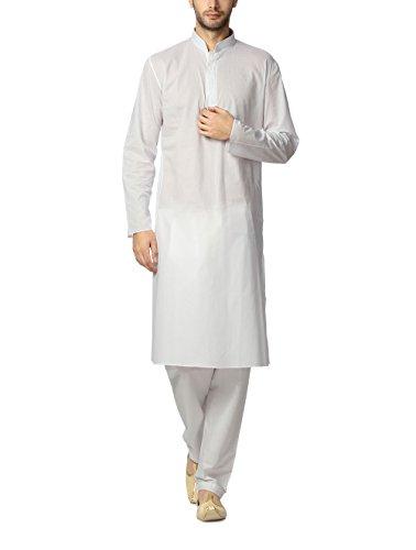 Peter England Men's Polyester Kurta Pyjama (8907087405891_POFL3140183_100_White)