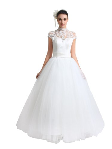 Artwedding Satin and Tulle Wedding Ball Gown with High Neck Lace Bodice, Ivory