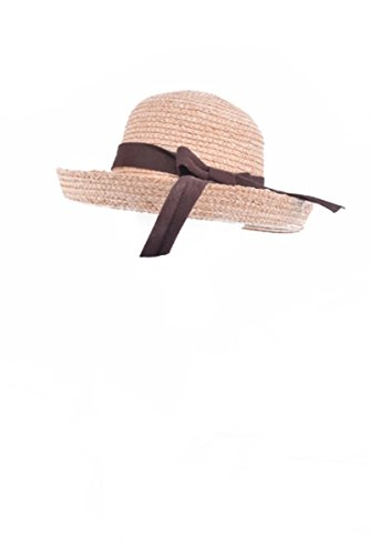 Natural and Brown Colored Belted Straw Fedora Accessory