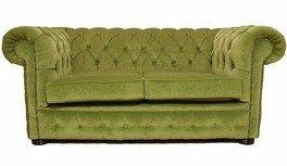 Chesterfield 2plazas sillas verde tela sofá oferta
