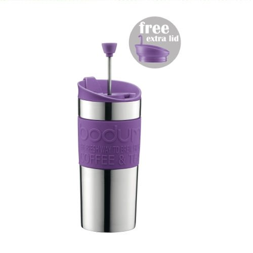 BODUM TRAVEL PRESS Stainless Steel Coffee/Tea maker with extra lid 0.35 l /12 oz - Purple