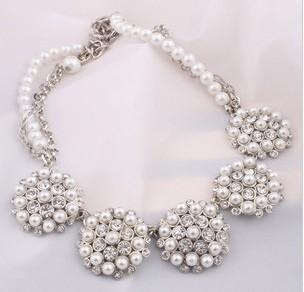 Princess Bella Pearls & Rhinestones Cluster Necklace