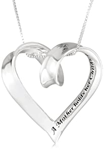 "Sterling Silver ""A Mother Holds Her Childs Hand For A Short While and Their Hearts Forever"" Heart Pendant Necklace, 18″"