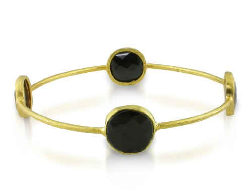 22k Yellow Gold Plated 16ct TGW Onyx Bangle Bracelet (7 inches)