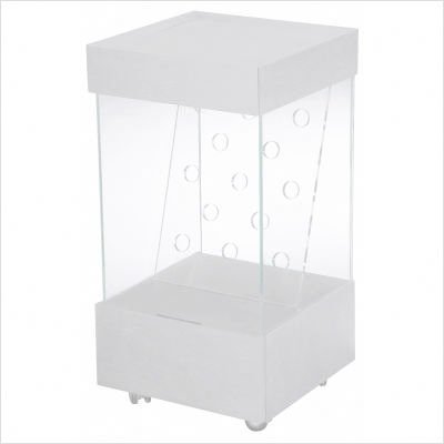 Nicole End Table / Wine Rack in White Gloss