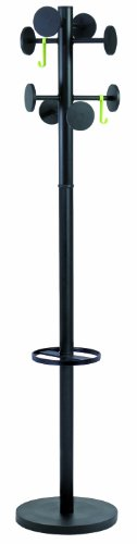 Alba Coat Stand with Umbrella Holder, 70-Inch Height, 8 Knobs, Black (PMSTAN3N)