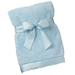 Bearington Baby Posh Dots Series:Large Cozy Chenille Crib Blanket (Blue) - 1