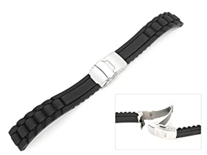 Men's Rubbertech (TM) Silicone Rubber  Watchband Stainless Steel Deployment Buckle Black 22mm - by JP Leatherworks