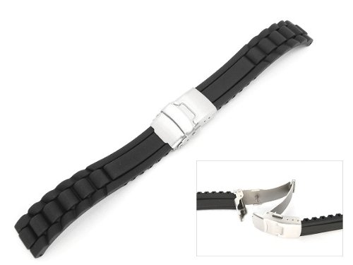 Men's Rubbertech (TM) Silicone Rubber  Watchband With Stainless Steel Deployment Buckle.  Black, 24mm width, Adjustable Length