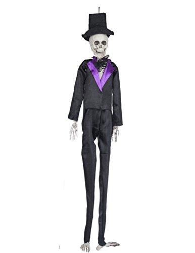 [Long Legged Skeletons Wearing Costumes Halloween Decoration Skeleton Black] (Skeleton Costume Pose)