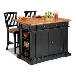 Cheap Home Styles 5003-948 Kitchen Island with Stool, Black and Distressed Oak Finish (5003-948)