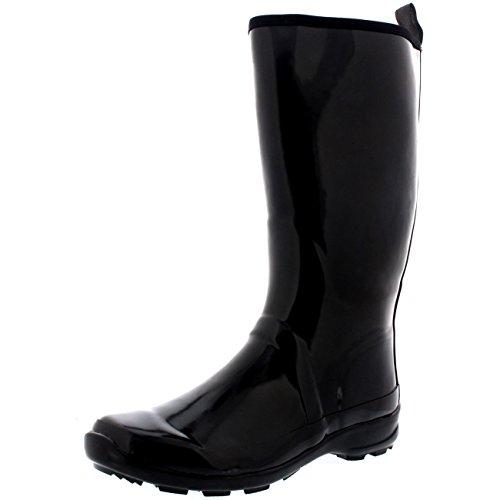 Womens-Contrast-Sole-Tall-Rubber-Gloss-Winter-Snow-Rain-Wellies-Boots