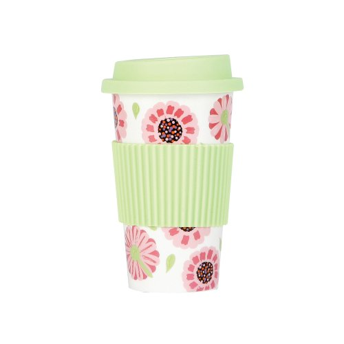 C.R. Gibson Lolita Porcelain To Go Cup, Ooops-A-Daisy front-584587