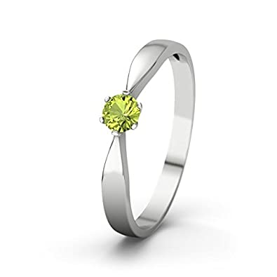 21DIAMONDS Women Peridot Round Brilliant Cut Engagement Ring - 14ct White Gold Engagement Ring