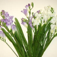 Artificial / Silk Flowers - 12 Stem Freesia Bush in Cream
