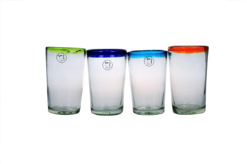 Amici Baja Set of 4 Hiball Glasses In Assorted Colors, 19-Ounce