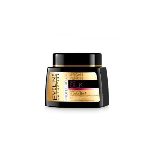 Eveline Cosmetics ARGAN HAIR MASK 8IN1. INNOVATION! ARGAN + KERATIN REPLENISHES KERATIN LOSSES 500ml