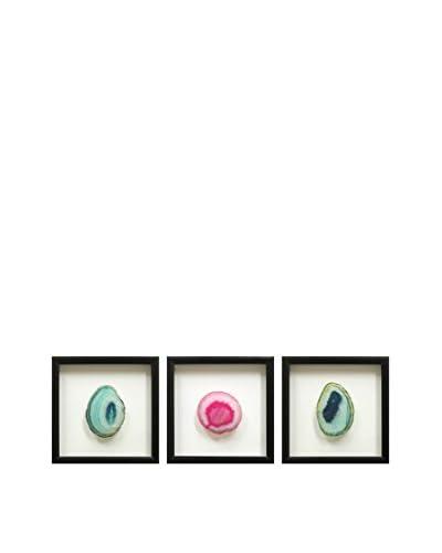 Set of 3 Black Floating Frames with Geodes, Teal/Pink/Teal