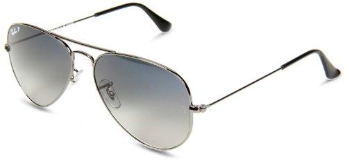 Ray-Ban Original 004/7855 Polarized Aviator Sunglasses,Gunmetal Frame/Blue Gradient Gray Lens
