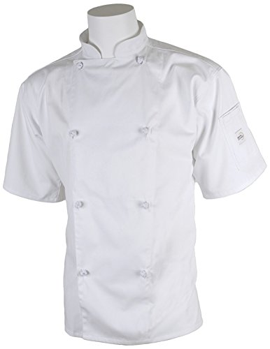 Mercer Culinary M61022WH1X Genesis Unisex Short Sleeve Chef Jacket with Cloth Knot Buttons, X-Large, White (Chef Jacket For Men Short Sleeves compare prices)