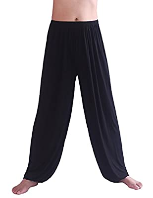 HOEREV Men's Super Soft Modal Spandex Harem Yoga/ Pilates Pants