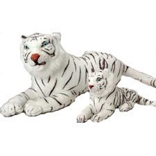 US Toy - Realistic White Tiger, 1 Plush per package, 18 x 8 x 0.9 inches - 1