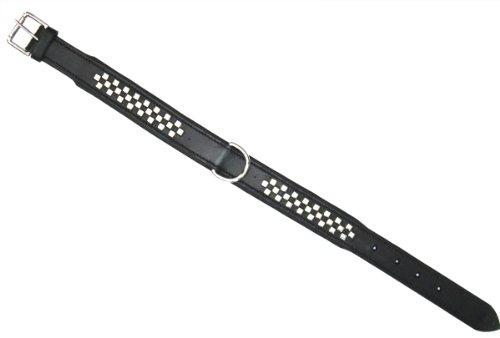 Artikelbild: Heim 3882608 Halsband aus Leder mit Zierbeschlägen und Sattlernaht, 30 mm breit, 60 cm lang, schwarz