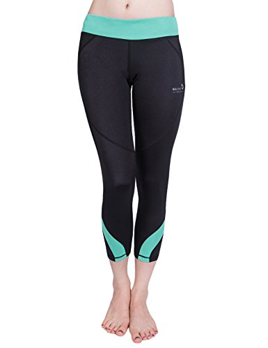Baleaf Women's Workout Running Capri Leggings Green Size L