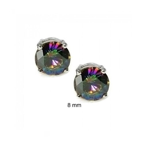 Bling Jewelry 925 Sterling Round Rainbow Mystic Topaz Color CZ Unisex Studs 8mm