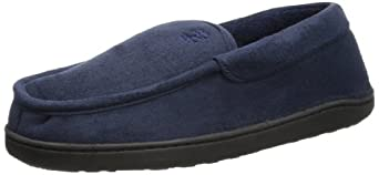 IZOD Men's Microsuede Moccasin Slipper with Micro Terry Lining, Navy,X-Large/11-12