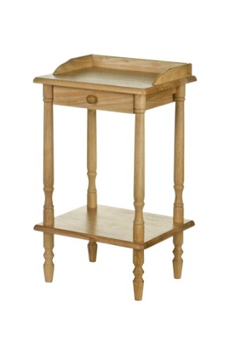 Premier Housewares Rubberwood Rectangle Telephone Table with Drawer, 62 x 36 x 29 cm