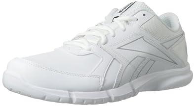 Reebok Men's Walk Fusion RS Leather Walking Shoe,White/Pure Silver,8 M US
