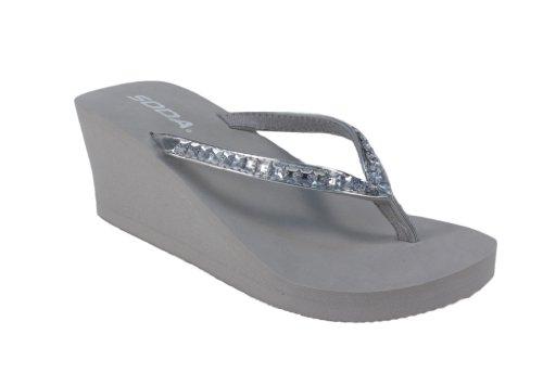Kaku! By Soda Rhinestone Strapped Low Platform Eva Thong Sandals, Silver Pu, 10 M