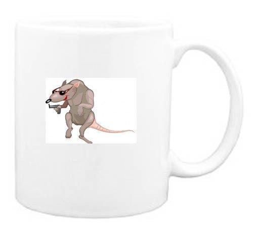 Mug with cartoons, cartoon, rat, gun, animal, spy