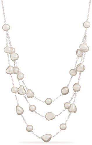 16 Inch+2 Inch Extension Necklace with 3 Graduated Strands of Shell and Cultured Freshwater Pearl