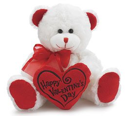 "Happy Valentine's Day Bear 8"" Animal Plush- White with Red Message Pillow"