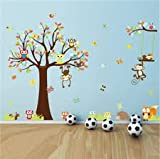 Forest Animal Monkey Owls Tree Wall Sticker Vinyl Mural Decal Kids Room Decor