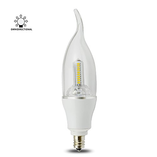 3 Watt Dimmable Ca35 Lohas® E12 Led Chandeliers Light Bulbs--30W Incandescent Replacement -- Soft White 3200K,360° Omni-Direction Candelabra 270 Lumens,3 Polygon Pagodo Shape,Flame/Bent Tip Plastic Cover,Ivory Plastic Lamp Body