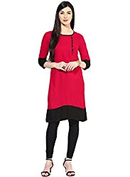 Varibha Girl's Branded Stitched Solid Pink Cotton Silk Low Price Kurti (Best Gift For Your Friend, Girlfriend, Wife, Sister, Casual, Free Size alterable till 42)