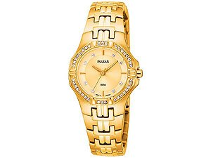 Pulsar PTC390X1 Gold Plated Crystal Set Bracelet Watch