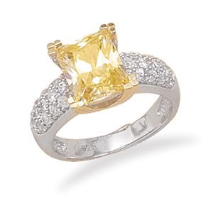 Sterling Silver Rhodium Plated Sterling Silver 14K Gold Plate Ring with Yellow Rectangle CZ / Size 8