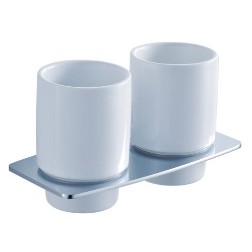 Kraus KEA-13316CH Fortis Bathroom Wall-mounted Double Ceramic Tumbler Holder